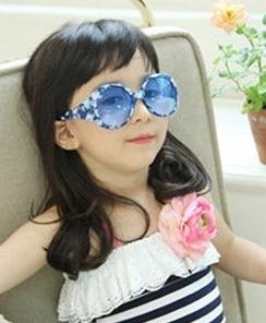 Kocotree◆可愛玫瑰薔薇碎花鏡框兒童太陽眼鏡-藍色