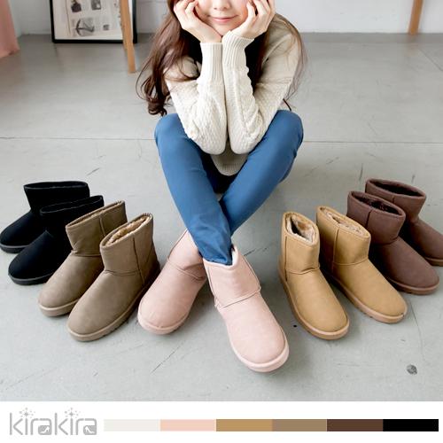 雪靴-冬季巴黎內裏毛絨防潑水皮革素色短雪靴