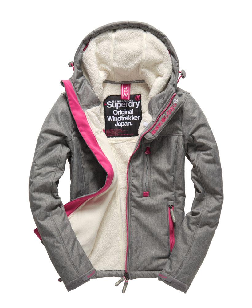 [女款]Outlet英國代購極度乾燥 Superdry Windtrekker 女款 羊羔毛 刷毛 風衣連帽防風防水外套 淺麻灰