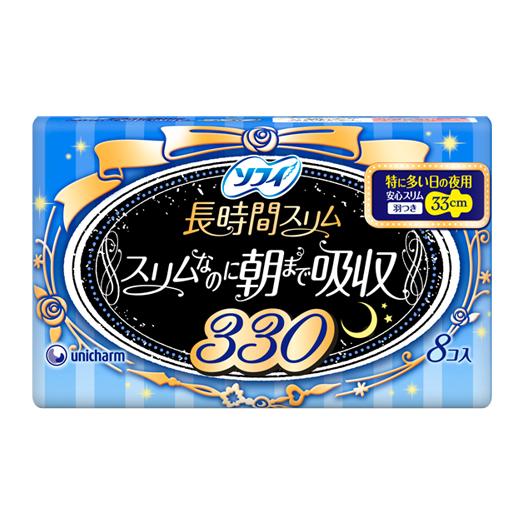 [下殺特價]日本原裝進口 蘇菲Sofy超薄蝶翼衛生棉-夜用量多加長(33cm) 8片入