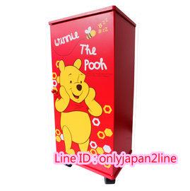 【真愛日本】16100500002拉門三層滾輪櫃-PH蜜蜂紅    迪士尼 維尼家族 POOH   櫃子 鞋櫃 衣櫃