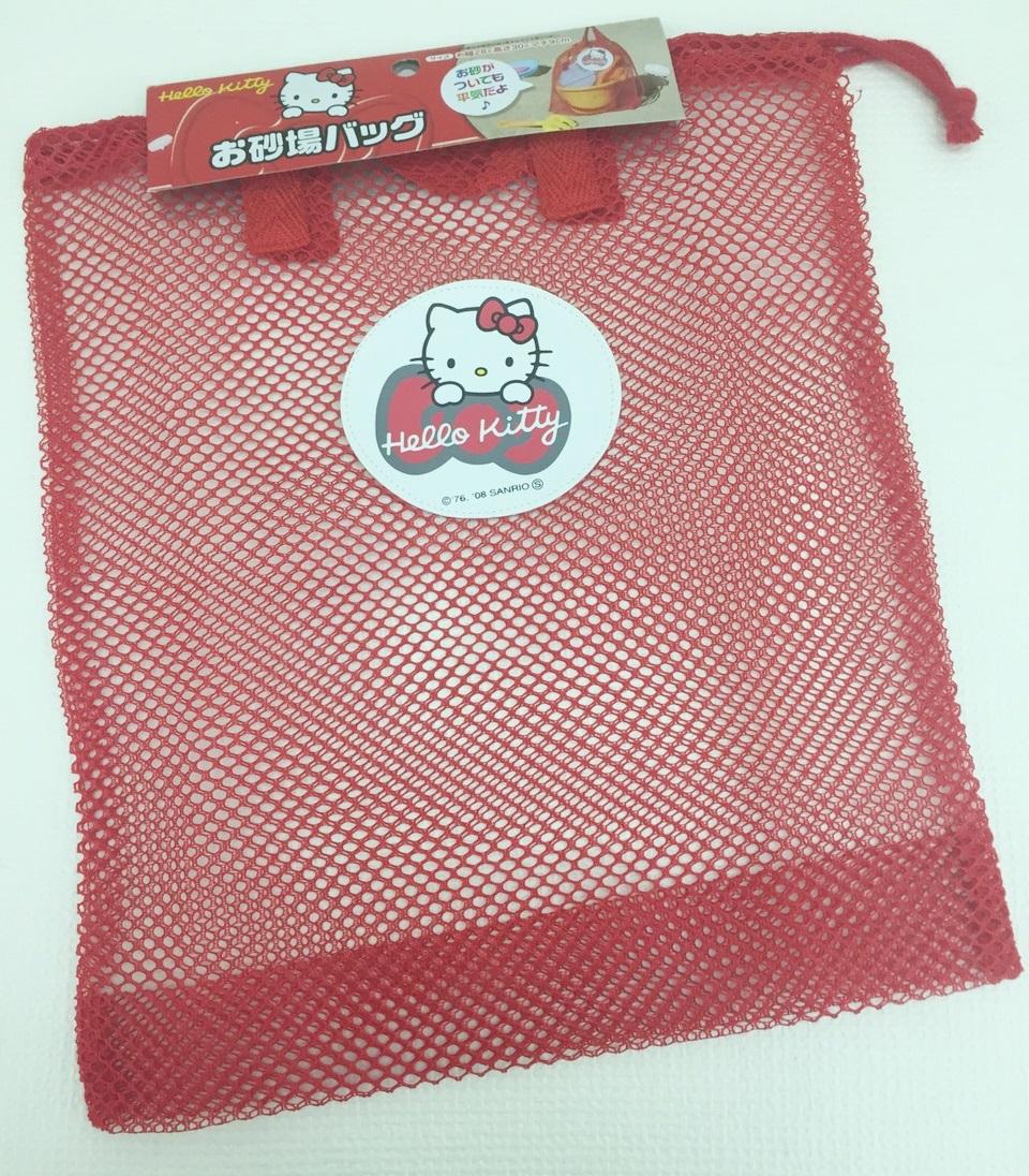 【真愛日本】15111400045 網紗收納袋-KT紅結紅 三麗鷗 Hello Kitty 凱蒂貓 收納袋 沙灘玩具袋