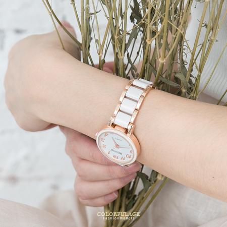 手錶 熱銷玫瑰金簡約配色氣質女孩專屬腕錶 典雅乾淨 仿陶瓷錶帶 柒彩年代【NE1542】贈禮盒