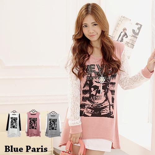 促銷免運 - 上衣 - 蕾絲長袖裂印骷髏字母長版上衣【22268-A】 藍色巴黎 (3色) 現貨 MIT