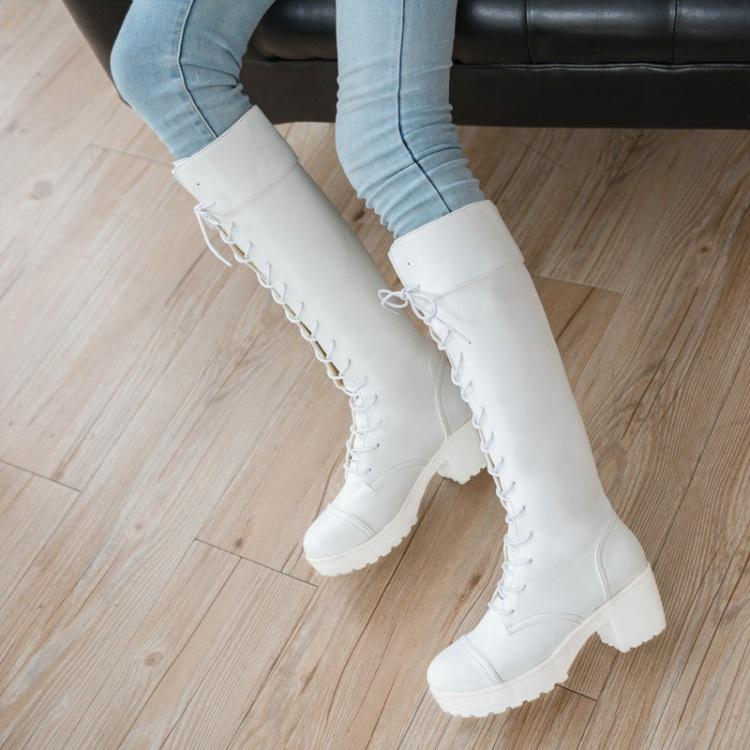 新款潮流黑色白色馬丁長靴女鞋高跟女靴子秋冬長靴高筒粗跟厚底增高繫帶騎士靴