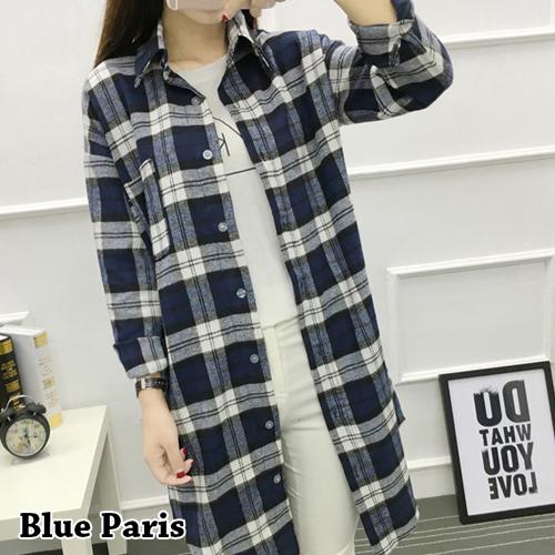 上衣 - 法蘭絨寬鬆長袖長版格子襯衫【29200】藍色巴黎 - 現貨 + 預購