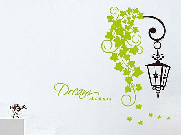 BO雜貨【YV3018】創意可移動壁貼 牆貼 背景貼 時尚組合壁貼 磁磚貼 英文 綠藤路燈