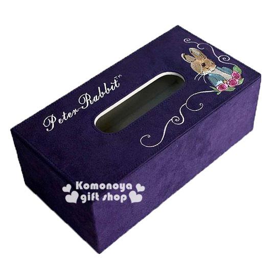 〔小禮堂〕彼得兔 仿麂皮刺繡面紙盒《紫.側臉.玫瑰》居家室內.汽車內適用