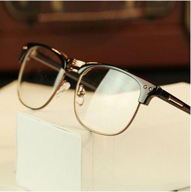 50%OFF【J011445Gls】韓版潮人金屬半框眼鏡框2190 個性復古眼鏡架 雙米釘框架眼鏡附眼鏡盒
