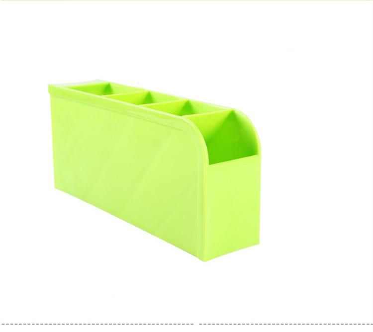 《喨晶晶生活工坊》綠色 韓國塑料桌面收納盒 創意雜物整理盒 辦公桌面化妝品儲物盒