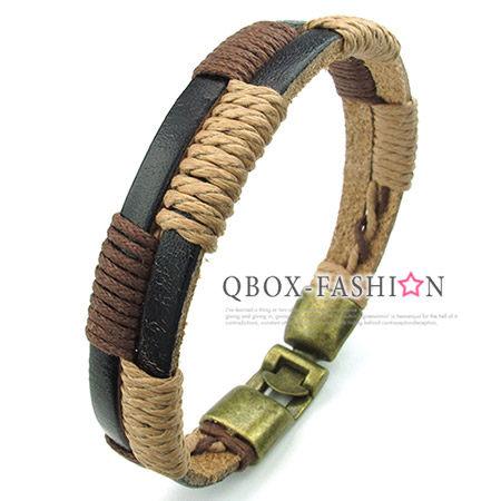 《 QBOX 》FASHION 飾品【W10023858】精緻個性雙層復古幾何編織皮革合金皮革手鍊/手環