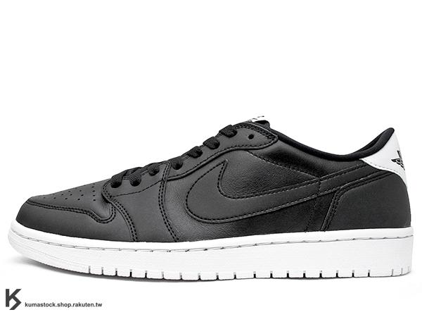 1985 年經典復刻款 台灣未發售 2015 鞋舌 NIKE LOGO 標籤 NIKE AIR JORDAN 1 RETRO LOW OG CYBER MONDAY 低筒 男鞋 全黑 白中底 黑白 皮革 AJ (705329-010) !