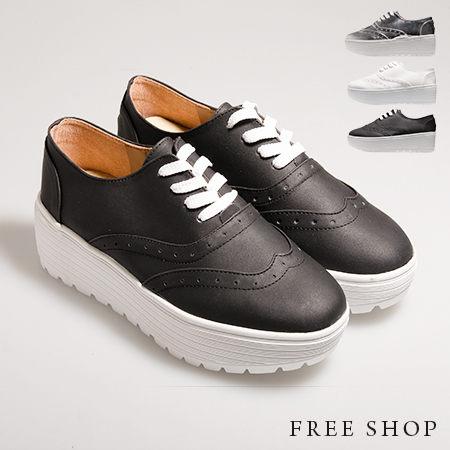 Free Shop【QSH0404】日韓風格鞋面壓紋皮質綁帶經典厚底牛津鞋休閒鞋‧三色(FF14) MIT台灣製