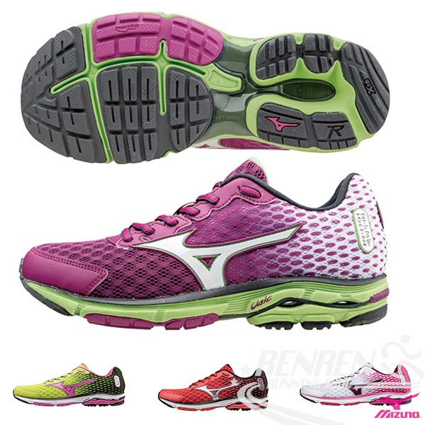 MIZUNO 美津濃  WAVE RIDER 18 女慢跑鞋 路跑(粉紅*白)2015年下半年新款