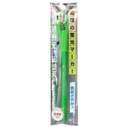日本製 KUTSUWA 可削式螢光鉛筆 綠色 附削筆器*夏日微風*