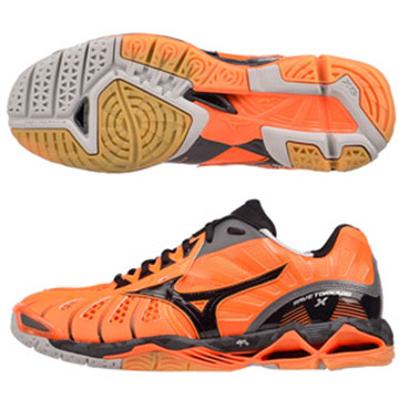 V1GB161207〈橘X黑)WAVE TORNADO X 頂級排球鞋 S【美津濃MIZUNO】