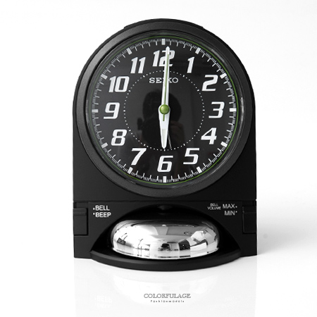 SEIKO精工鬧鐘 時尚設計黑色鈴鐘造型座鐘 滑動式秒針 可調整音量大小 柒彩年代【NV7】原廠公司貨