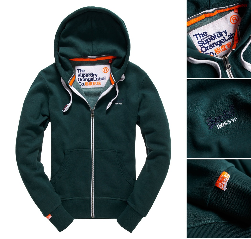 【男款】Superdry極度乾燥2016最新Orange Label系列拉鍊連帽外套運動休閒純棉 外套 森林綠砂礫