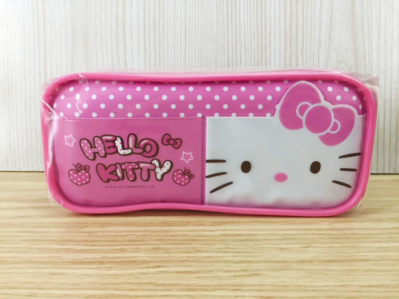 【真愛日本】16011400032 造型筆袋-KT大臉白點粉 KITTY 凱蒂貓 三麗鷗 筆袋 收納 鉛筆盒