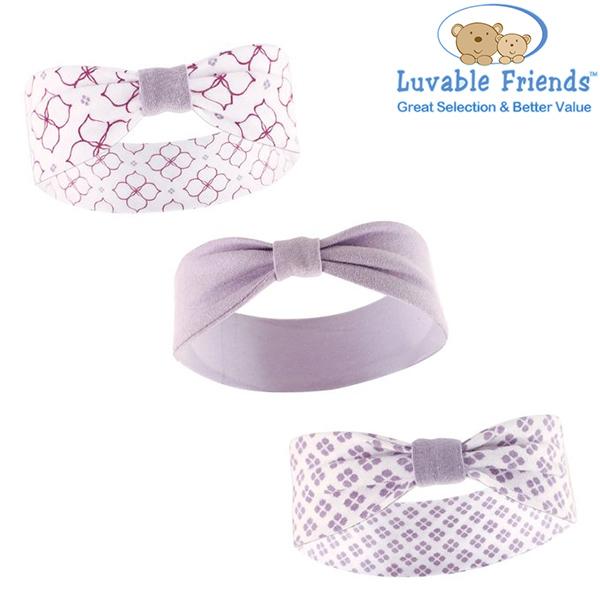 美國 Hudson Baby/Luvable Friends 嬰幼用品 嬰兒髮帶/寶寶髮帶 (3件組) -俏皮紫