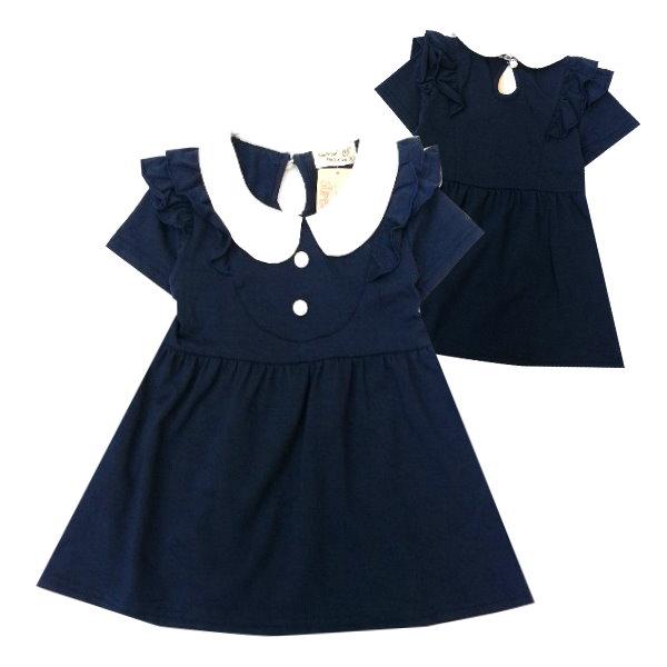 【班比納精品童裝】圓白領荷葉邊洋裝-藍【BO150330032】