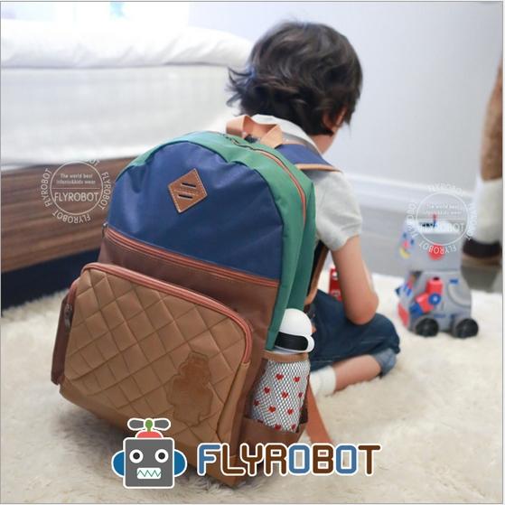 Flyrobot◆夢幻俏皮機器人小豬鼻皮標透氣雙肩包兒童背包-咖啡色