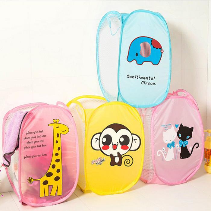 tangyizi輕鬆購【DS131】可愛卡通三面網通風可折疊髒衣籃髒衣收納籃玩具收納箱