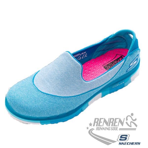 SKECHERS 女健走系列 (淺藍) GO FLEX WALK  瑜珈鞋墊 懶人鞋 2016最新款式
