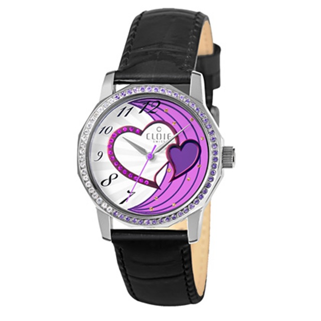 CLOIE 心心相印晶鑽時尚腕錶-紫x黑/33mm CL10175-YQ03