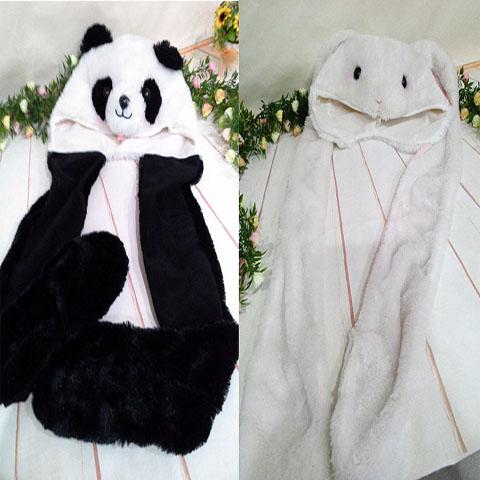 ~*My 71*~   熊貓 兔子 圍巾帽 保暖帽 圍巾 手套 動物 造型 保暖系列 特價出清199