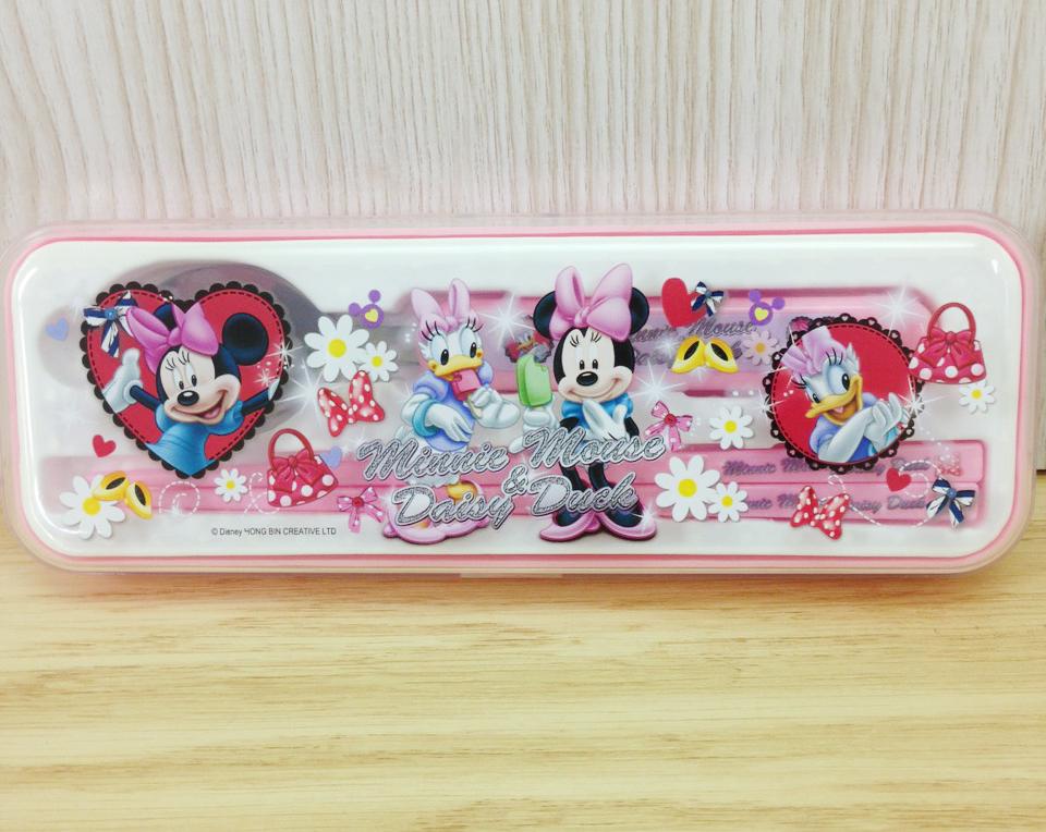 【真愛日本】 15110500005 2入餐具組-米妮&黛西粉 迪士尼 米老鼠米奇 米妮 餐具組 兒童餐具