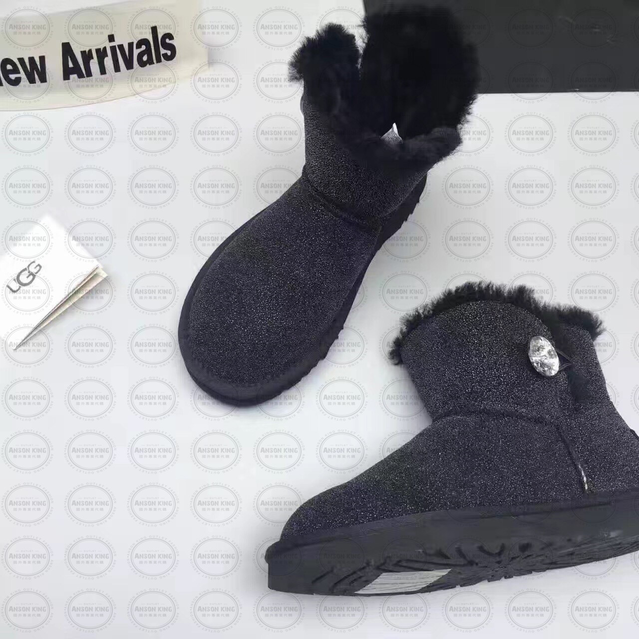 OUTLET正品代購 澳洲 UGG 明星同款水晶扣短靴 保暖 真皮羊皮毛 雪靴 短靴 藍色