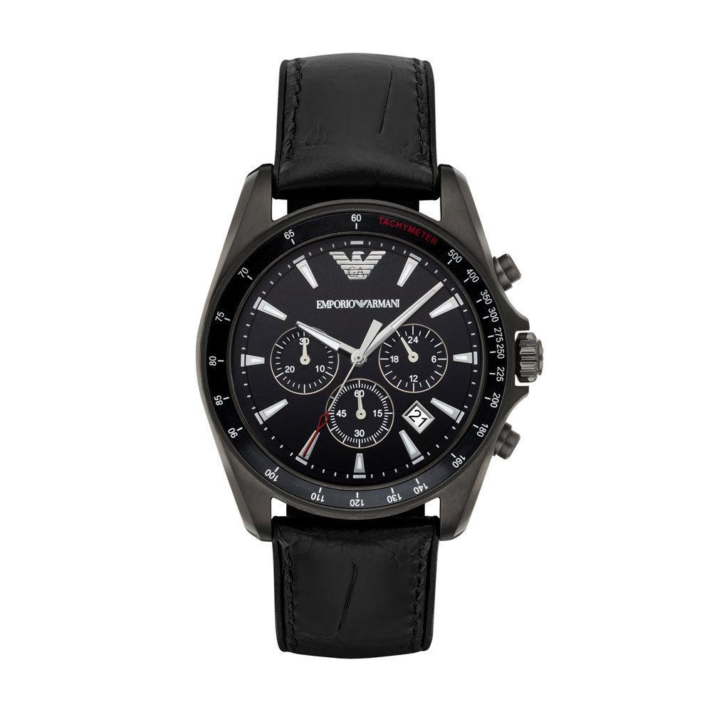 【錶飾精品】ARMANI手錶 亞曼尼表 時尚休閒 鐵灰框黑壓紋膠帶男錶 AR6097 計時 全新原廠正品 情人生日禮物