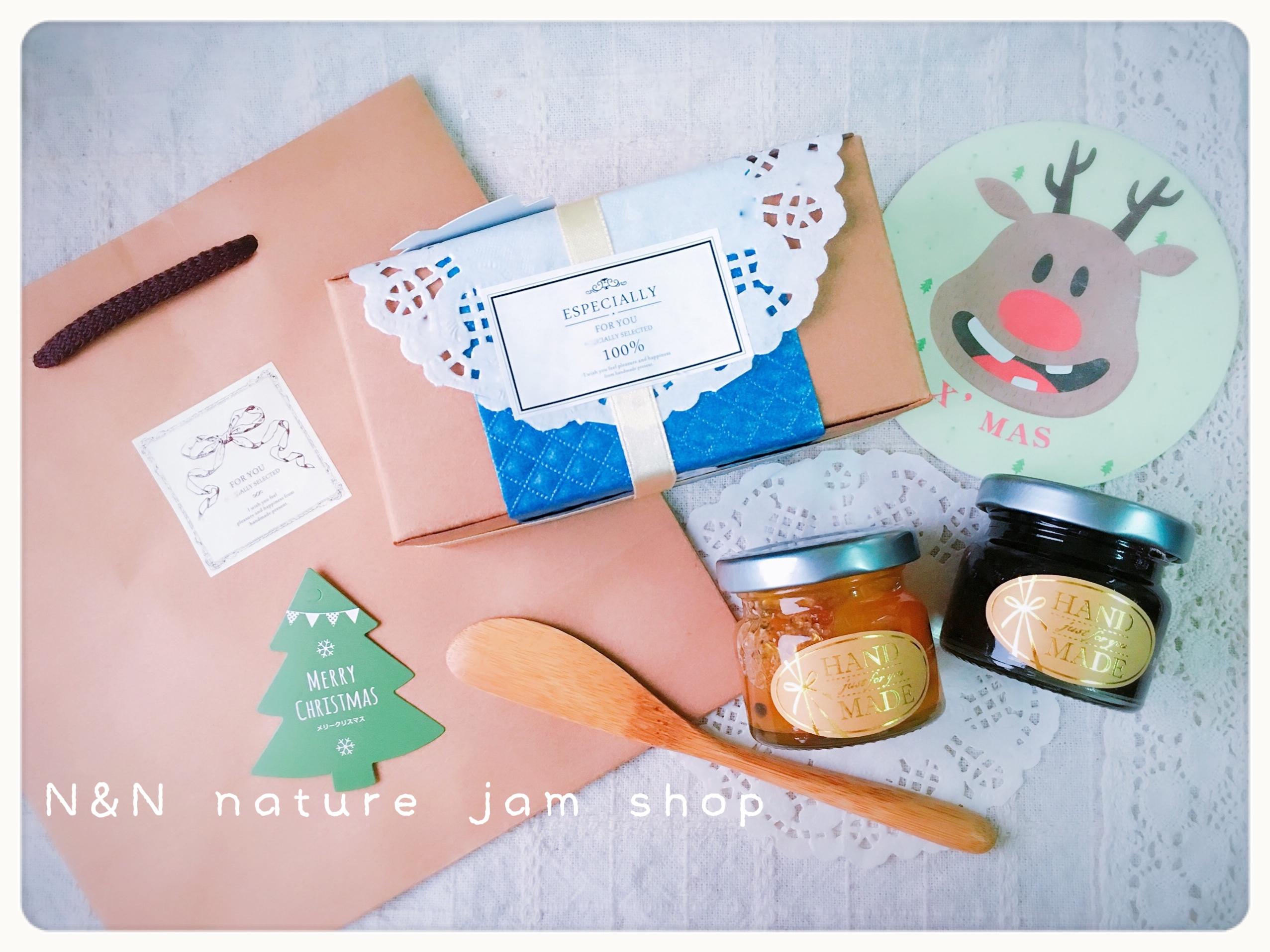 N&N天然手工果醬小舖**「雙巧果醬組」** 聖誕款(50ml兩瓶裝+精緻木製塗刀)附紙袋&聖誕杯墊卡