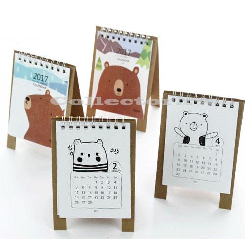 【L16111601】2017年韓國手繪小熊創意小桌曆 小日曆 立體桌曆 年曆
