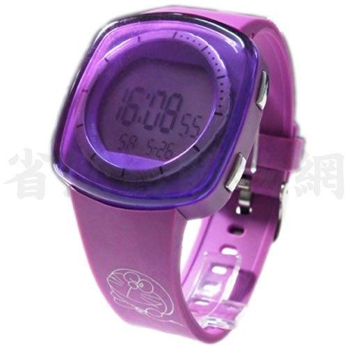 《省您錢購物網》全新~哆啦A夢 小叮噹 Doraemon大方形框 電子錶 (紫色)