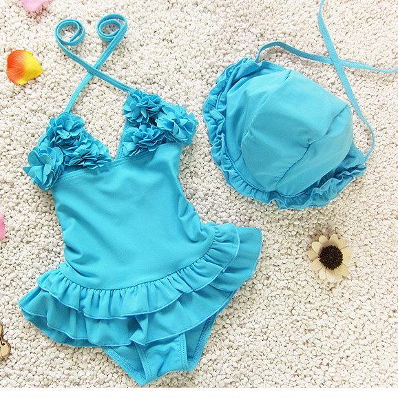 兒童嬰兒可愛花朵連體裙式游泳衣寶寶女童泳裝+泳帽-粉藍色