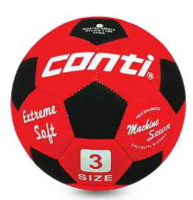 CONTI 軟式安全足球(3號球) 紅/黑 3號足球 [陽光樂活=]