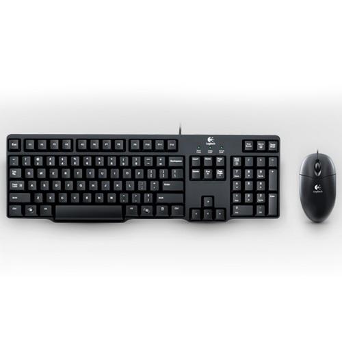 有線鍵鼠組銷售冠軍!【Logitech 羅技】防潑濺舒適尺寸鍵盤極小邊框設計 全尺寸光學滑鼠鍵盤組 MK100