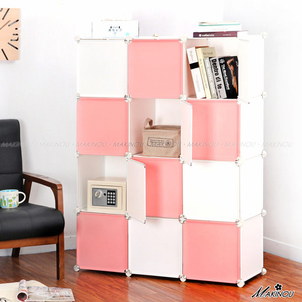 組合櫃 /日本MAKINOU|四排12格魔術方塊衣櫥收納櫃-門片撞色-台灣製|衣櫃 置物櫃 牧野丁丁