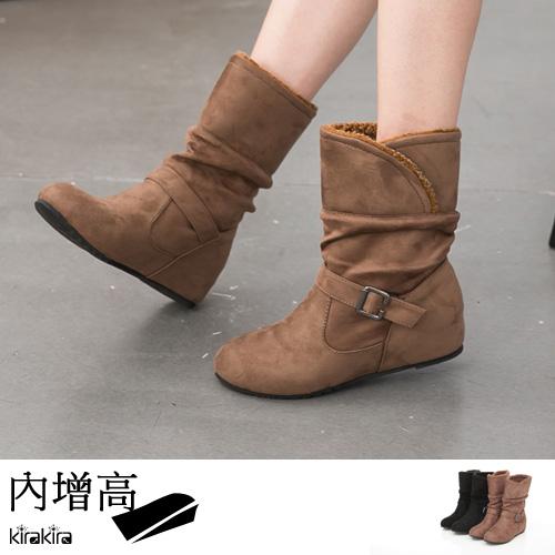 中筒靴-時尚兩穿可反折單扣中筒靴 偏小【011500905】