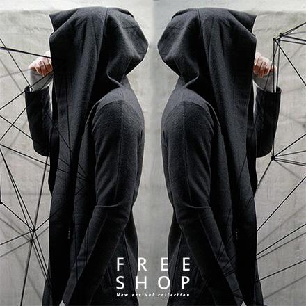 Free Shop 韓版暗黑者系型男刺客教條風格披風式全灰全黑灰素色長版連帽外套 有大尺碼【QPPBT8136】