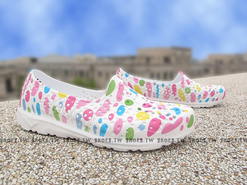 《限時特價79折》Shoestw【62U1SA64RW】PONY TROPIC 水鞋 軟Q 防水 懶人鞋洞洞鞋 白彩點點 女生 親子