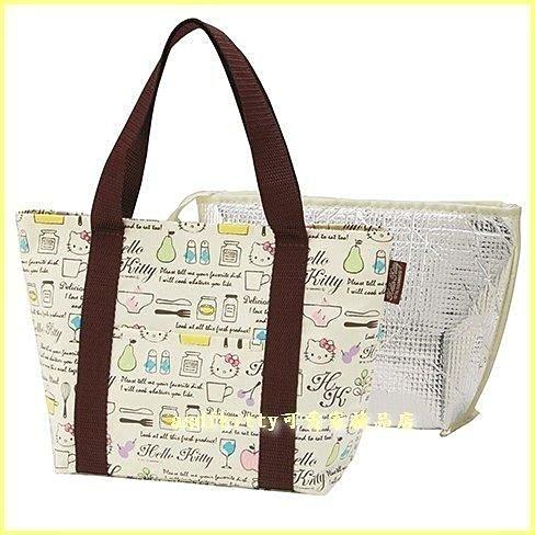 asdfkitty可愛家☆KITTY法國風可拆洗輕量保溫便當袋/手提袋/購物袋-也可保冷-日本正版商品