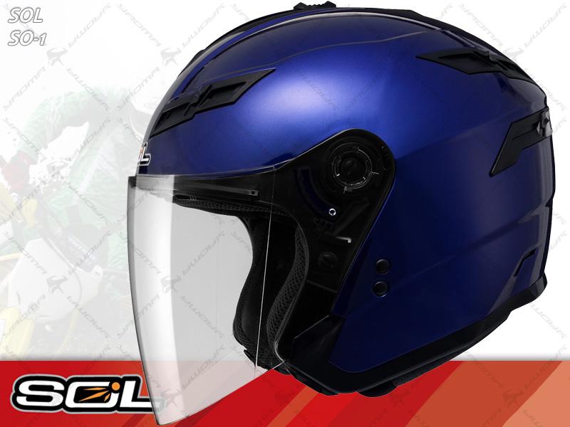 SOL安全帽|SO-1 / SO1 素色 寶藍 【內置墨片.LED燈】 半罩帽 『耀瑪騎士生活機車部品』