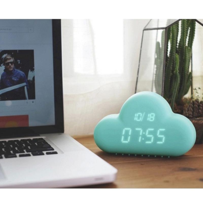 創意雲朵鬧鐘 貪睡鬧鐘 懶人鬧鐘 靜音 節能 時間 掛鐘 LED鐘 電子鐘日期鬧鐘 床頭鐘 宿舍