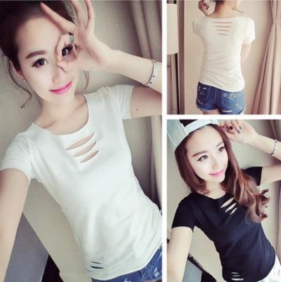 PS Mall 韓版純色破洞圓領短袖修身顯瘦常規百搭款T恤【T1143】