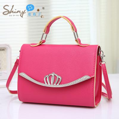【P027】shiny藍格子-時尚皇冠‧韓版新款小方包女士小包包單肩斜跨手提包