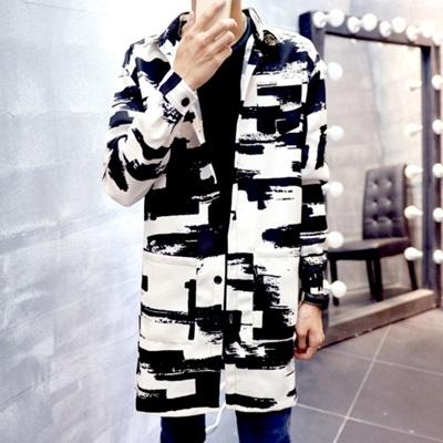西裝外套 長版大衣-韓版時尚墨跡休閒男外套72p15【獨家進口】【米蘭精品】