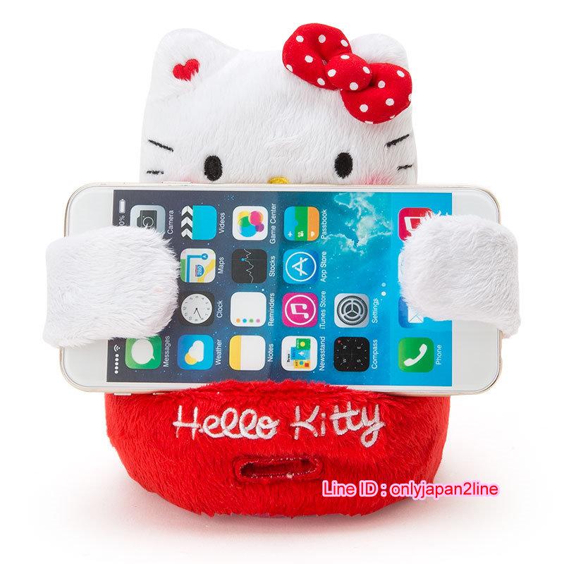 【真愛日本】16102400011造型娃手機座-KT點點紅結  三麗鷗 Hello Kitty 凱蒂貓  手機座 正品 限量  預購